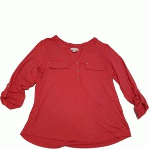 Charter Club Roll-Tab Henley Top New Coral Xlarge